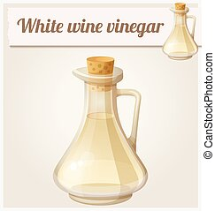 White wine vinegar. Detailed Vector Icon. Series of food and...
