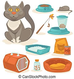 Cat accessories set. Pet supplies: food, toys, mouse, bowl...