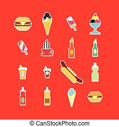 Fast food colorful flat design icons set.