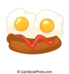 Vector breakfast food . Icon of healthy food eggs and bacon....