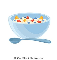 Vector breakfast food . Icon of healthy food cereal. Cartoon...