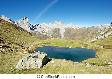 Pyrenees in France - Peaks and Ansabere Lake. Lescun Cirque....