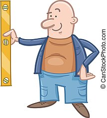 worker with spirit level cartoon - Cartoon Illustration of...