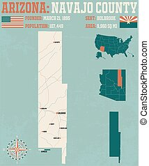 Navajo County in Arizona - Large and detailed map and...