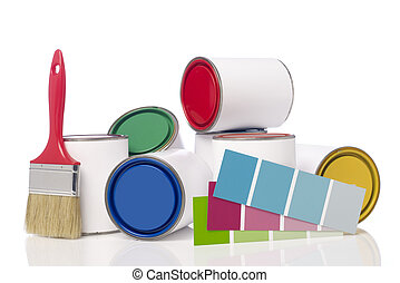 Paint cans, paint brush and color chart