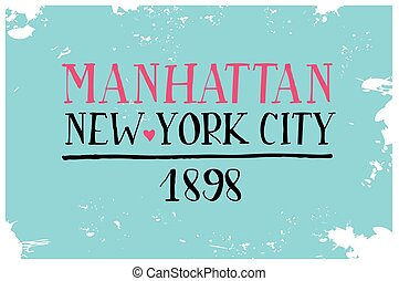 Vintage Touristic Greeting Card. Manhattan. New York city....