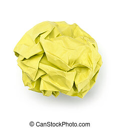 Yellow paper ball isolated on white