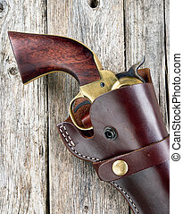 Old Western Pistol - Old western pistol in leather holster