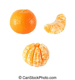 Collection of tangerine isolated