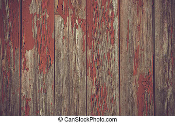 Red paint pealing off wooden planks - Red paint pealing off...