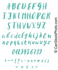 Hand written calligraphy alphabet blue colors. Brush script...