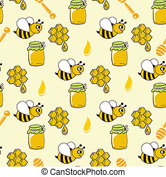 Seamless pattern with honey, bees, honeycomb, drop, honey...