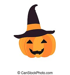 Halloween pumpkin with black witch hat. Abstract vector...