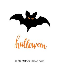 Black Halloween bat silhouette. Halloween lettering text. Abstract vector illustration.