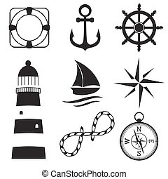 Nautical design elements anchor, starfish, wheel, boat, fish, rope, bell, lifebuoy, lighthouse, flag, compass