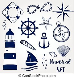 Nautical design elements lighthouse, seashell, coral, starfihh, rope, anchor, steering wheel, life buoy, the wind rose, compass, ship