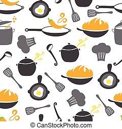 cuisine, éléments, seamless, modèle