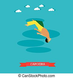 Capoeira fighter shows his skills, flat design - Capoeira...