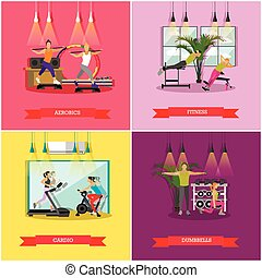 Vector set of workouts in the gym, flat design - Vector set...