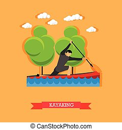 Man swims in kayak with paddle, flat design - Man swims in...
