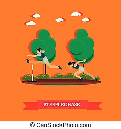 Two steeplechase female athletes, flat design - Vector...