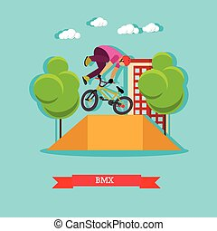 Guy makes a stunt on BMX, flat design - BMX cyclist...