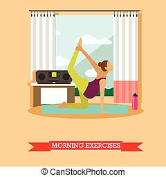 Pregnant girl doing morning exercises, flat design