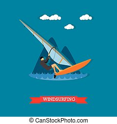 Windsurfer on the board with sail, flat design - Man in...