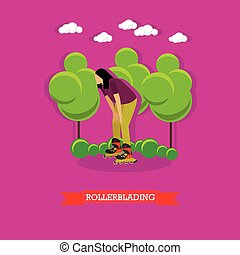 Young girl rollerblade in the park, flat design