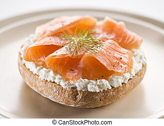 Salmon sandwich - Fresh salmon sandwich on a plate close up