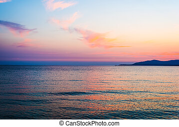 orange and pink sky over Capo Caccia, Sardinia
