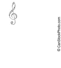 Treble clef sign made up from black music notes on white -...