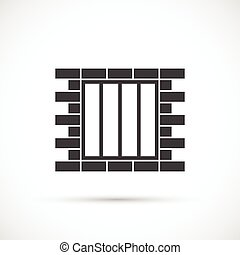 Jail vector icon - Jail icon. Grill on the brick wall