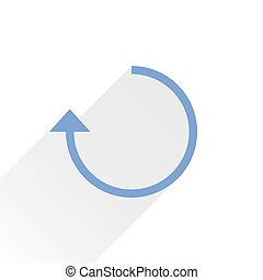 Flat blue arrow icon rotation sign on white