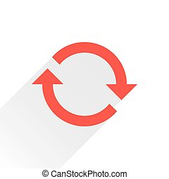 Flat red arrow icon refresh sign on white