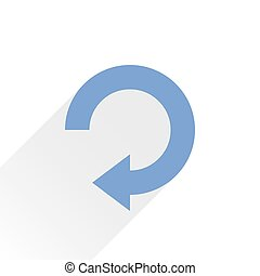 Flat blue arrow icon repeat sign on white