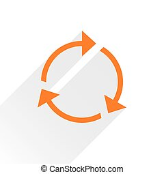 Flat orange arrow icon reload sign on white