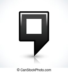 Black blank map pin sign square location icon - Blank map...