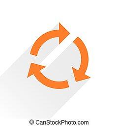 Flat orange arrow icon refresh sign on white - Orange arrow...