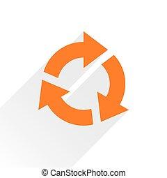 Flat orange arrow icon rotation sign on white - Orange arrow...