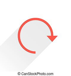 Flat red arrow icon reset sign on white background