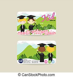 Kids Member Card Template Vector - Front And Back Kids...