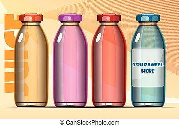 Vector set of transparent glass or plastic orange, blue, red...