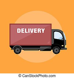 Delivery Van icon isolated flat vector illustration