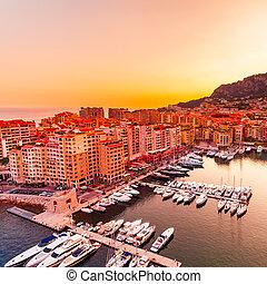 Panoramic view of Port de Fontvieille in Monaco. Azur coast....