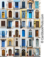 Collage of 36 colourful front doors from Karpathos.