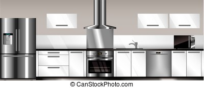 Vector modern kitchen in gray and white colors