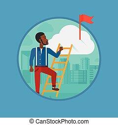 Businessman climbing the ladder.