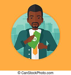 Man putting money in pocket vector illustration - An...