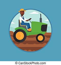 Farmer driving tractor vector illustration. - An...